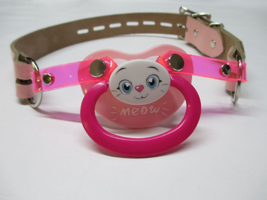 Kitty pacigag, Pacifiergag, adult pacifier, AB/DL pacigag,  Character pacifier,
